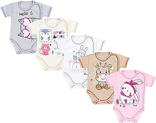 Bodys för baby med djurmotiv i bomull 5-pack.
