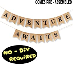 Adventure Awaits Burlap Banner Bunting Bon Voyage Travel Retirement Graduations Wedding Party Pennant Decorations Supplies - NO DIY REQUIRED