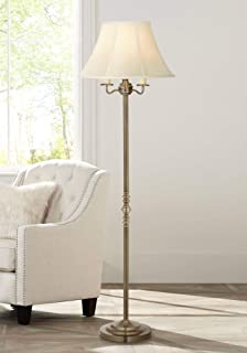 Montebello Traditional Floor Lamp Antique Brass Shabby Chic Off White Bell Shade Candelabra for Living Room Reading Bedroom Office - Regency Hill