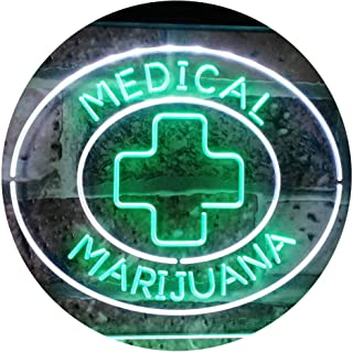 ADVPRO Medical Marijuana Cross Sold Here Indoor Display Dual Color LED Neon Sign White & Green 16