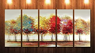 Saf Premium Large 5 Panel Trees Ink Painting?(24 Inch X 50 Inch) SONFL7914