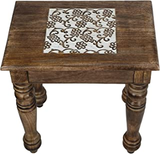 SAVON Wooden Side end Table Square White Flowers Carved