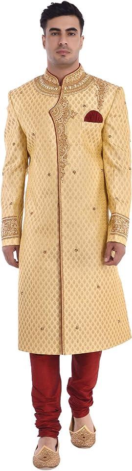 SKAVIJ Men's Traditional Sherwani Indian Outfit Wedding Party Dress Set