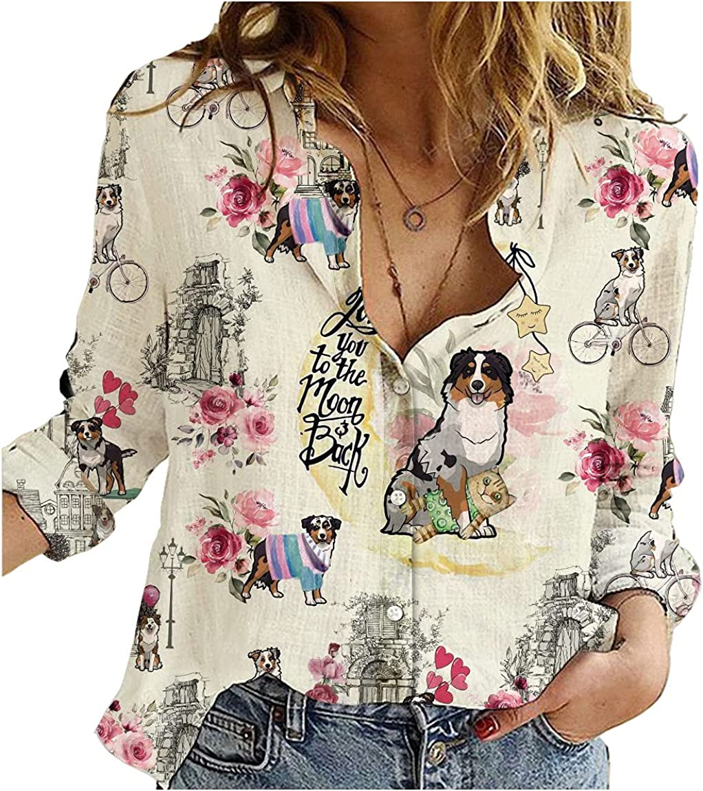 Miniature Australian Shepherd Cotton Linen Shirt City Mix Moon Womens Long Sleeve Button Down Cotton Linen Shirt Blouse Loose Fit Casual V-Neck Tops Full Size
