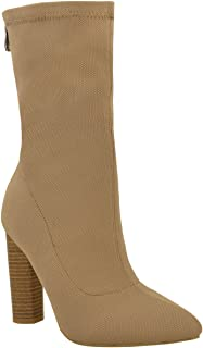 c4bd134412c Fashion Thirsty Womens Knitted Ankle Boots Stretchy Block High Heels Shoes  Size