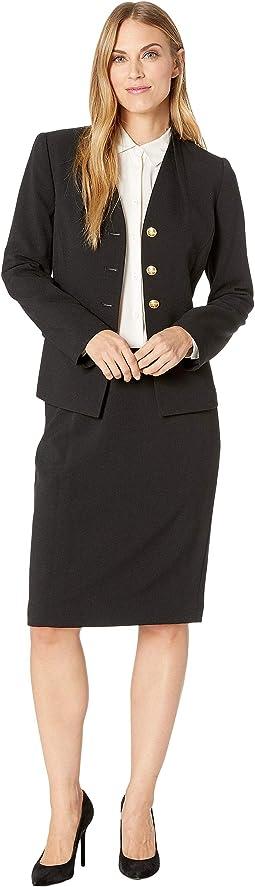 High Neck Reverse Pleat V-Neck Four-Button 2 Flap Pocket Skirt Suit