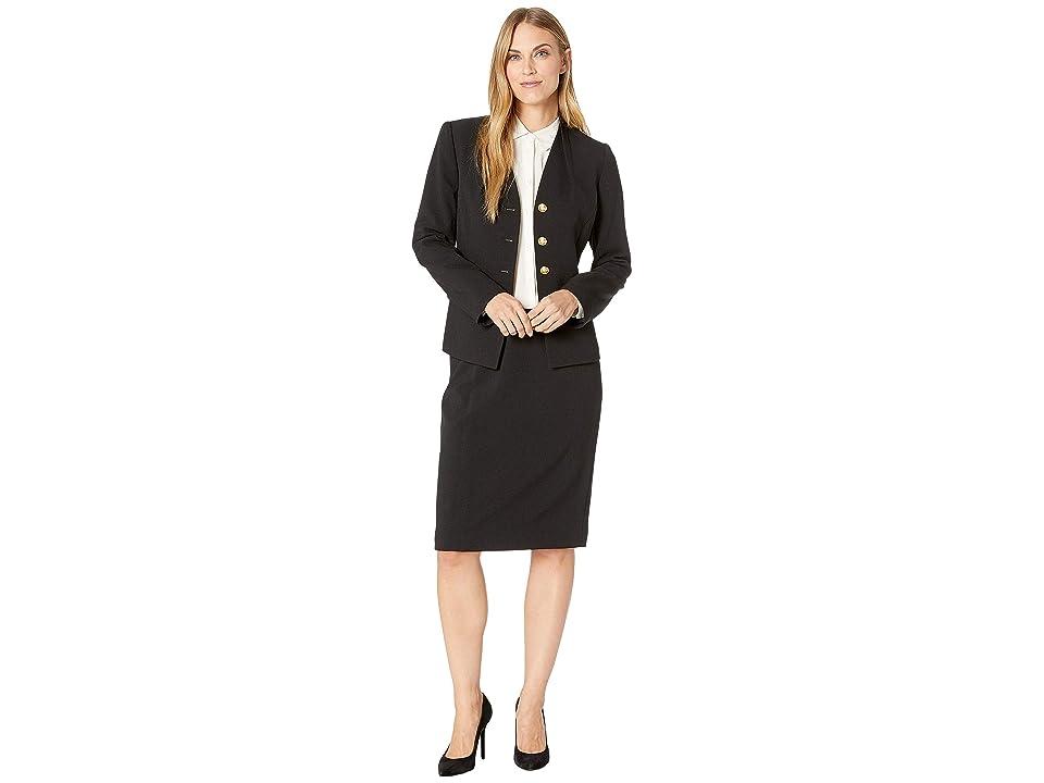 Tahari by ASL High Neck Reverse Pleat V-Neck Four-Button 2 Flap Pocket Skirt Suit (Black) Women