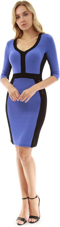 PattyBoutik Women V Neck 3 4 Sleeve Pencil Dress