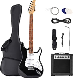 Best LAGRIMA39 Inch Full Size Electric Guitar Starter Kit with Amp, Case and Accessories Pack Beginner Starter Package (39, Black) Review