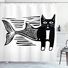 Ambesonne Mermaid Decor Collection, Woodcut Style Image of a Catfish Mermaid Monochrome Comic Humorous Art Design Print, Polyester Fabric Bathroom Shower Curtain Set with Hooks, Black and White