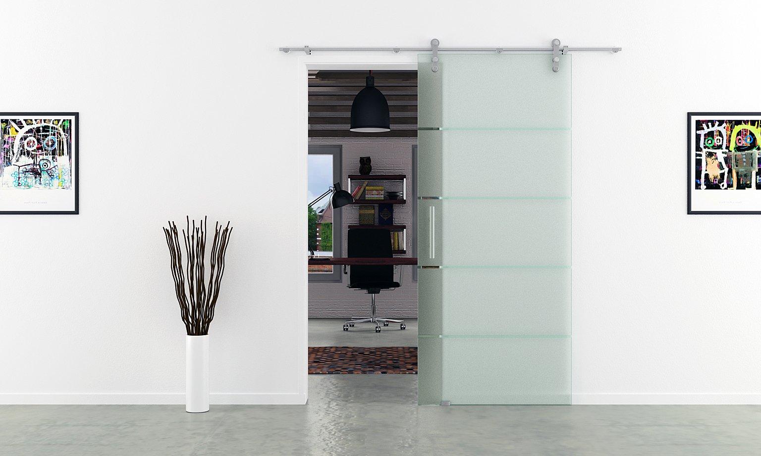 Acero inoxidable carriles-puertas correderas de cristal en DIN ...