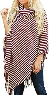Sexyshine Women's Fall Loose Turtleneck Stripe Tassel Shawl Wrap Poncho Cape Cloak Pullover Sweater Tops