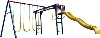 Lifetime Monkey Bar Adventure Swing Set with 9 Foot Wavy Slide
