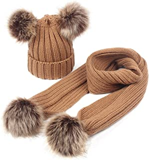 Baby Girls Knitted Hat Scarf Set Boys Kids Warm Detachable Double Faux Fur Pom Crochet Skull Cap Beanie Hats