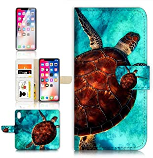 (for iPhone Xs/iPhone X) Flip Wallet Case Cover & Screen Protector Bundle - A21665 Turtle in Sea