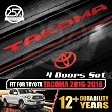 All-Weather (Gloss Red) TACOMA Doors Sill Protector Insert Letters & Logo Sticker Full Set for 4 Door Vinyl Decals 2016 2017 2018 TOYOTA
