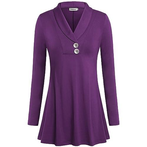 8bf4e27691b Ouncuty Women Fall Long Sleeve Tops Shawl Neck Button Down Dressy Blouses  Shirts