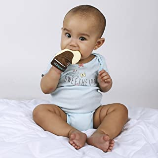 Lil Friendz & Co. YumYumz Baby Teething Mitten – Ice Cream Cone Toy Glove, Soothing Pain Relief for Teeth and Gums, Using BPA-Free, Food-Grade Silicone for Boy and Girl Babies 3 months + (Vanilla)