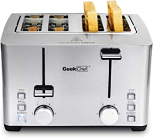 Geek Chef 4 Slice Toaster, Stainless Steel Bread Bagel Toaster with Warming Rack, 6 Shade Settings, 4 Extra Wide Slots, Removable Crumb Tray, Bagel/Defrost/Stop Function, 1500W