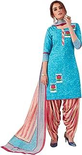 Salwar Studio Women's Sky Blue & Pink Cotton Printed Readymade Patiyala Suit Set(Blue_Size :L To 3XL)
