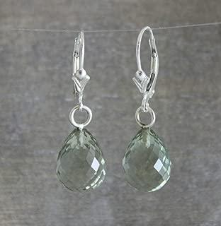 Green Amethyst Briolette Sterling Silver Earrings