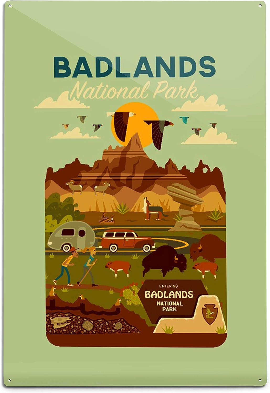 Lantern Press Badlands National Ranking TOP20 Park Dakota Geometric South Special price C