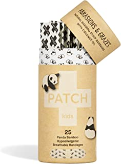 PATCH Kids Eco-Friendly Bamboo Bandages for Abrasions & Grazes Hypoallergenic Wound Care for Sensitive Skin, Compostable, Biodegradable, Latex Free, Plastic Free, Zero Waste, Coconut Oil, 25ct
