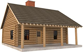 Log Cabin House Plans DIY 2 Bedroom Vacation Home 840 sq/ft Build Your Own