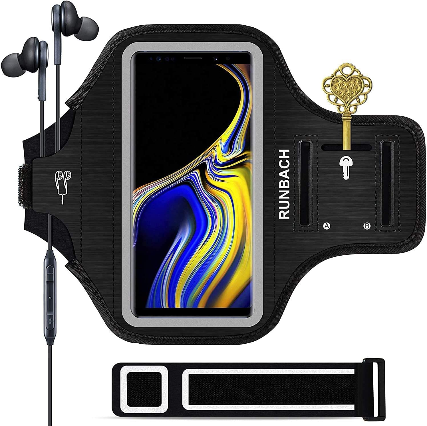 Galaxy Note 20/10+/9/8 Armband,RUNBACH Sweatproof Running Exercise Cellphone Sportband Bag with Fingerprint Touch and Card Slot for Samsung Galaxy Note 20/Note 10+/Note 9/Note 8(Black)
