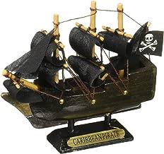 Hampton Nautical Wooden Caribbean Pirate Ship Model Christmas Ornament, 4