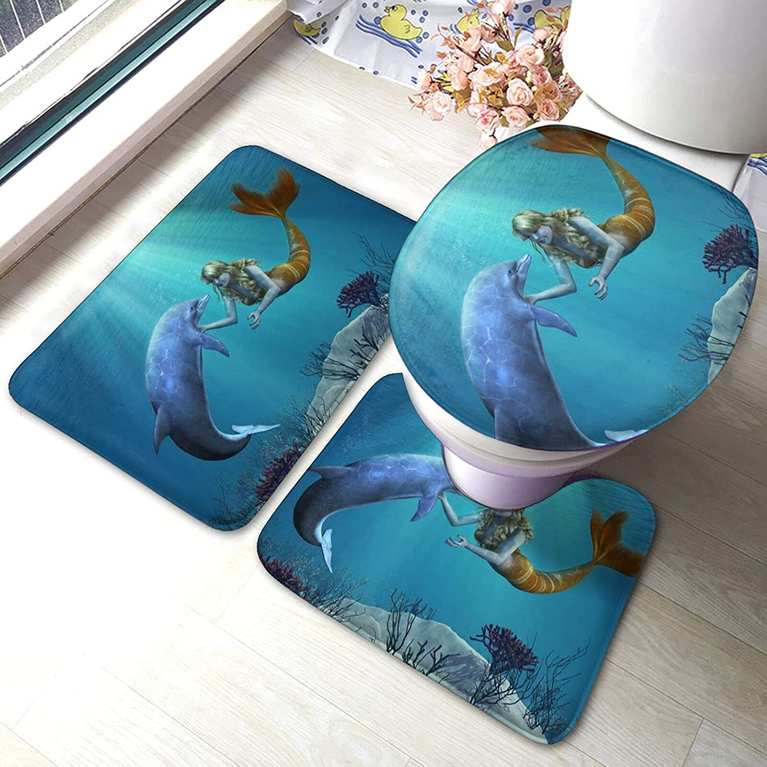 Dolphin Greets A Mermaid Sale store Special Price Print Bathroom Fashion Set 3 Piece Rugs