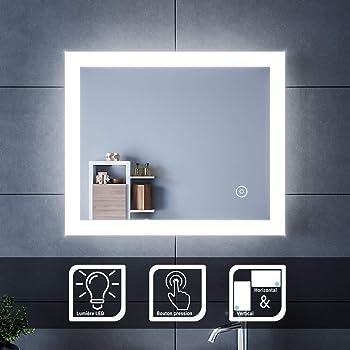 Anti-bu/ée antipoussi/ère LED Miroir Rond Salle Bain,Miroir Mural pour Salle de Bain avec la Commande de capteur Tactile