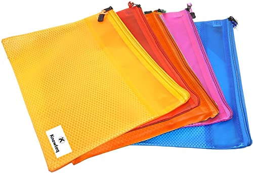 Knowteq 5 Pieces Transparent Pouch - Heavy-Duty Plastic Reinforced With Threads - Mesh Bag With Zipper Best For Organ...