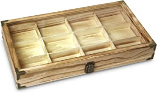 wooden display box with compartments