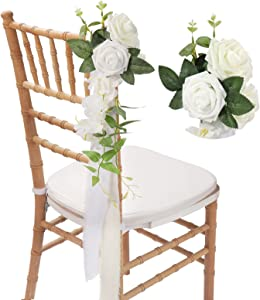 Wedding Chair Decorations Set of 8, White Cream Rustic Aisle Artificial Flowers with Chiffon Ribbons for Wedding Ceremony Reception, French Vintage Floral Decor for Church Chair Bench Pew Bows