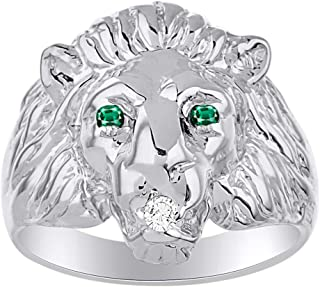 Lion Head Ring set with Genuine Diamond in mouth & Natural Emeralds in eyes White Gold Plated over Sterling Silver .925