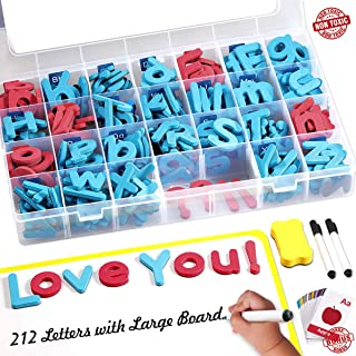 Magnetic Letters Kit, 212Pcs A-Z Foam Magnetic Letters, Alphabet Letters with Large Double-Side Magnet Board and Learning Cards, Educational Refrigerator Magnets for Preschool Learning Spelling