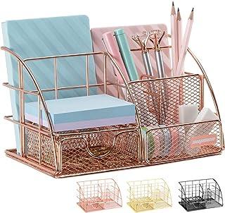 Rose Gold Desk Organizer for Women, AUPSEN Mesh Office Supplies Desk Accessories, Features 5 Compartments + 1 Mini Sliding Drawer