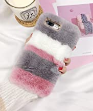 Losin Plush Case Compatible with Apple iPhone 6 Plus / iPhone 6S Plus 5.5 Inch Fashion Luxury Cute Colorful Fuzzy Furry Winter Rabbit Hair Warm Plush Fluffy Fur Soft TPU Back case