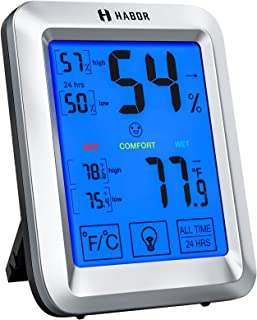 Habor Hygrometer Indoor Thermometer with Jumbo Touchscreen and Backlight, Room Thermometer Humidity Gauge Indicator for Ho...