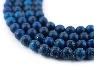 TheBeadChest Matte Round Lapis Lazuli Beads (4mm): Organic Gemstone Round Spherical Energy Stone Healing Power for Jewelry Bracelet Mala Necklace Making