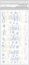 """American Crafts Shimelle Sparkle City Thickers Stickers 5.5""""X11"""" 101/Pkg-Sparkle Phrases & Icons/Foam"""