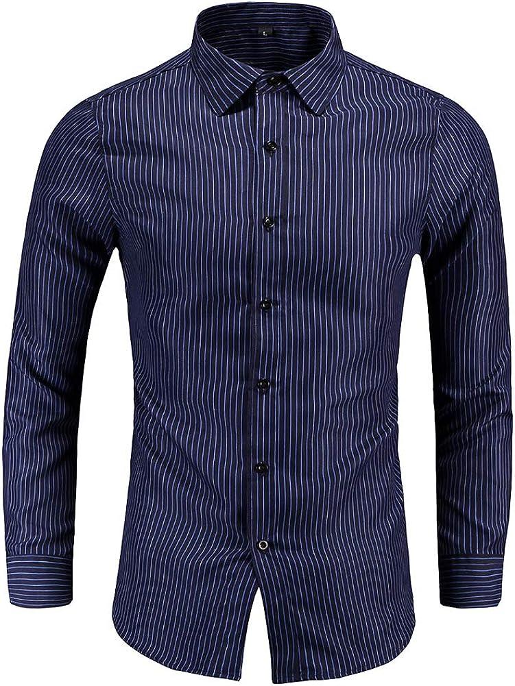 YYNUDA Men's Lapel Collor Pinstripe Shirts Slim Fit Long Sleeve Button Down Shirt