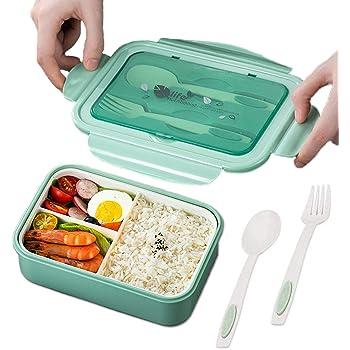 TWBEST Bento Box, Bento Box para niños, Bento Box con 3 Compartimentos y Cubiertos, Bento Box Lunch Box y Ideal Food Box para niños y Adultos Snacks (Verde)