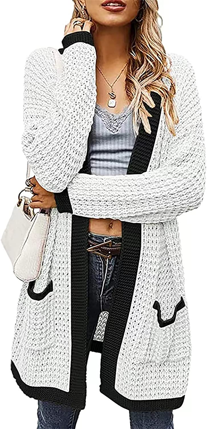 Women Long Sleeve Cardigan Casual V Neck Open Front Jacket Knit Lightweight Sweater Mid Length Patchwork Coat with Pocket