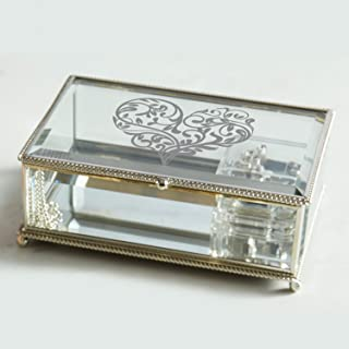 CB Gift Heartfelt Collection Pleasant Melodies Silver and Glass Music Box, 10 x 4.5-Inches, Somewhere Out There