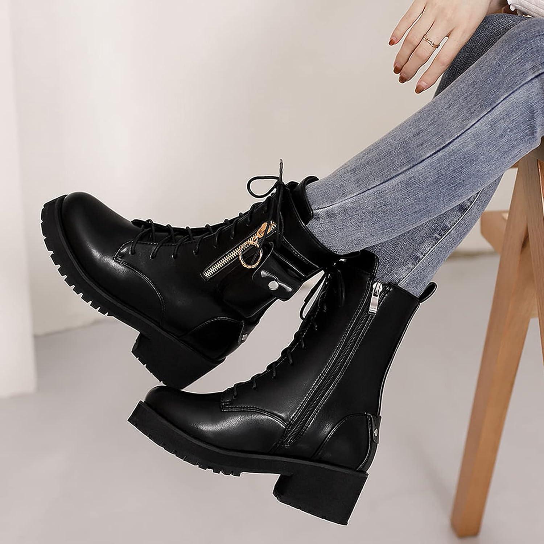 SaraIris Women's Boots Chunky High Heels Lace-up Boots Zipper Buckle Platform Boots Outdoor Hiking Combat Boots