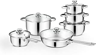Classic Essentials Stainless Steel Cookware Set Silver 12-Pieces, Casserole, Saucepan, Fry Pan, CE-SV012