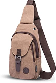 FANDARE Vintage Rucksack Sling Bag Umhängetasche Messenger Tasche Schultertasche Reisen Crossbady Bag Sporttasche Studententasche Segeltuch Braun