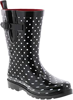 Shiny Floral Printed Mid-Calf Rain Boot